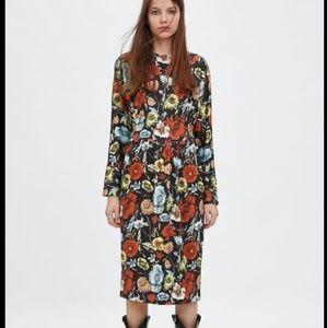 NWT Zara Floral MIDI Dress 0085/306 SMALL s